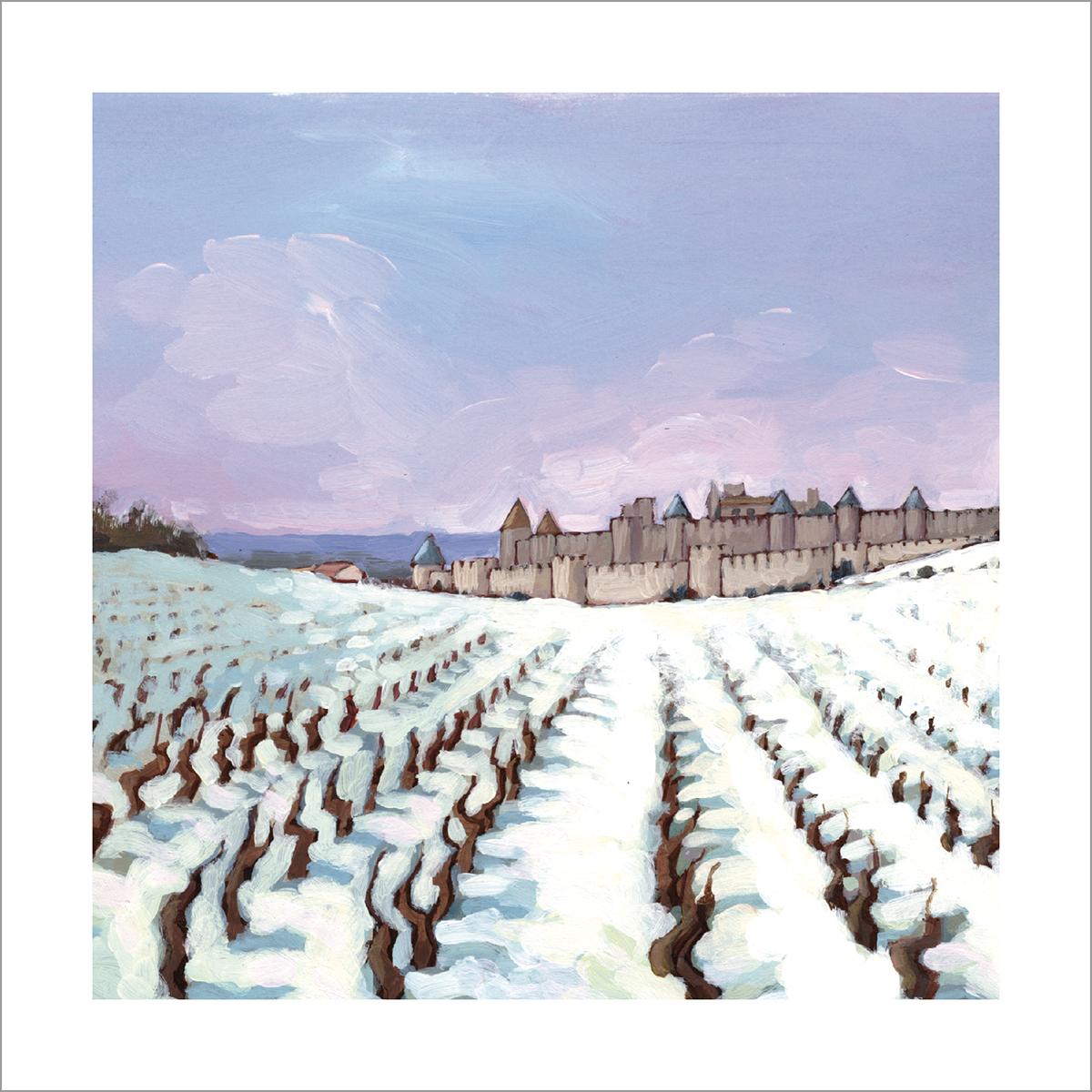 Carcassonne cite sous la neige